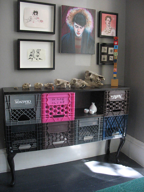 upcycled milk crate sideboard
