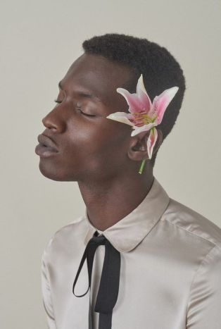 flowers behind ear