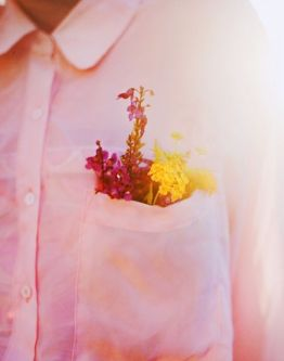 pink shirt pocket flowers
