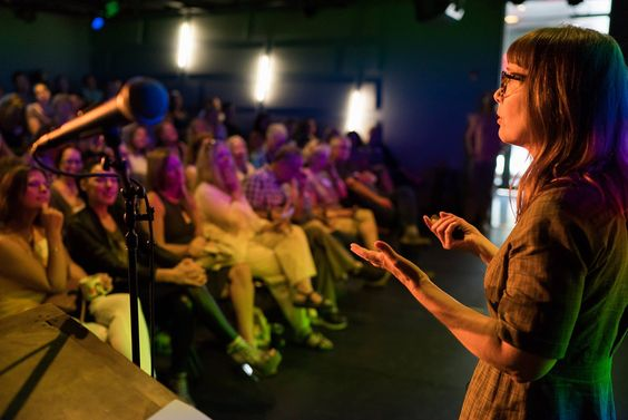 Jenn Moore speaking at Creative Mornings PKX Aug 2018